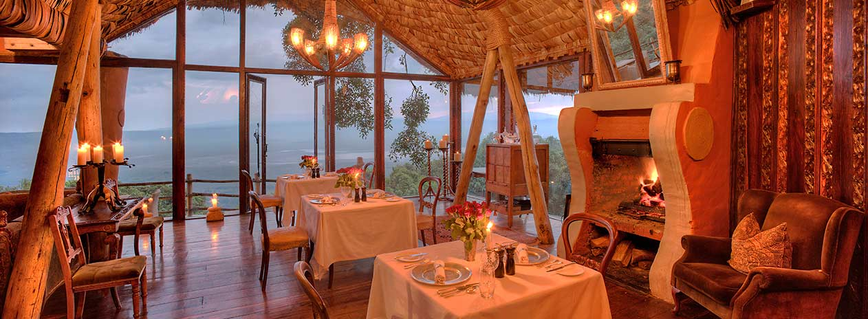 andBeyond Ngorongoro Crater Lodge Dining with view